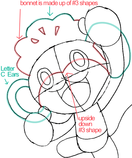 Step 7 : Drawing Pansage from Pokémon in Easy Steps Lesson