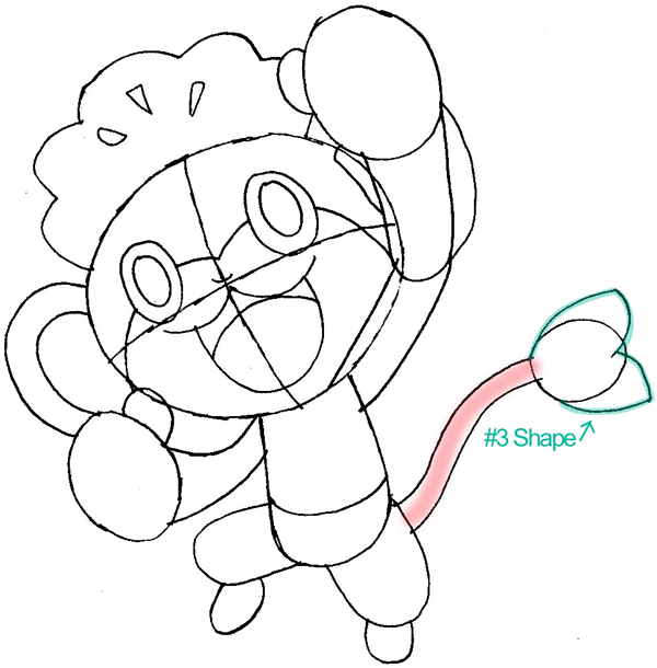 Step 8 : Drawing Pansage from Pokémon in Easy Steps Lesson