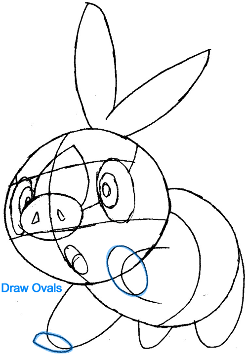 Step 6 : Drawing Tepig from Pokémon in Easy Steps Lesson