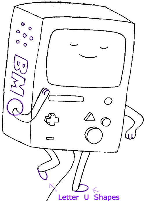 Step 6 : Drawing Beemo from Adventure Time in Easy Steps Lesson