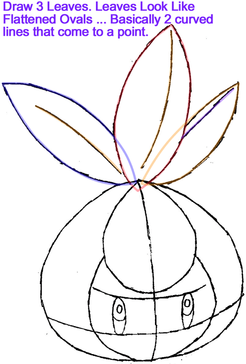 Step 3 : Drawing Petilil from Pokémon in Easy Steps Lesson