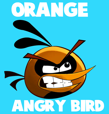 How to draw Orange Bird from Angry Birds with easy step by step drawing tutorial