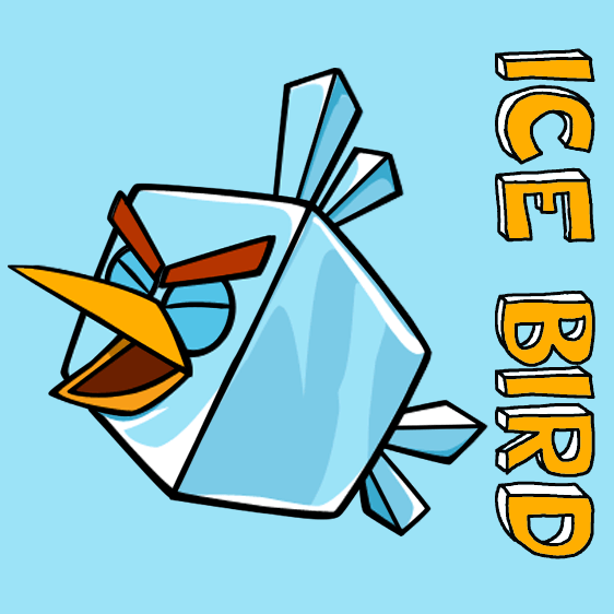 How to draw Ice Bird from Angry Birds with easy step by step drawing tutorial
