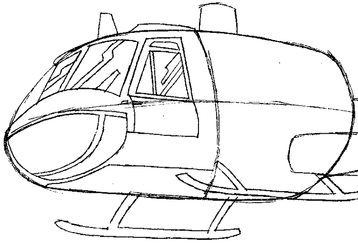 Step 5 : Drawing Helicopter in Easy Steps Lesson