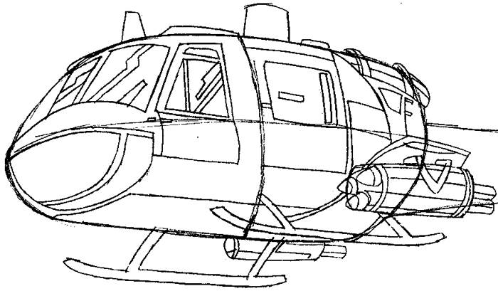 Step 6 : Drawing Helicopter in Easy Steps Lesson