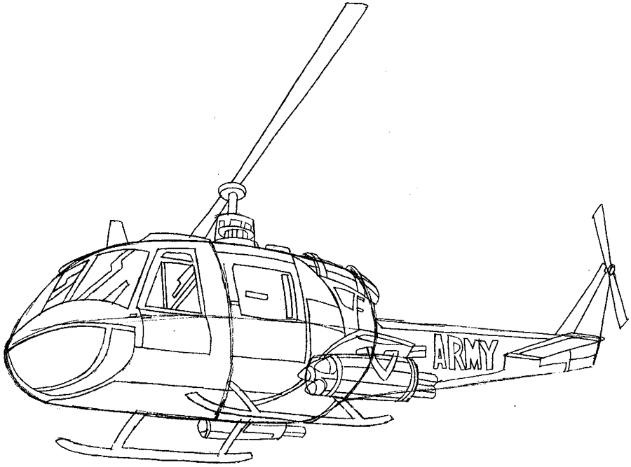 Step 7 : Drawing Helicopter in Easy Steps Lesson
