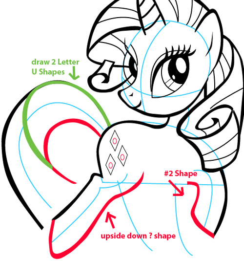 Step 10 : Drawing Rarity from My Little Pony in Easy Steps Lesson