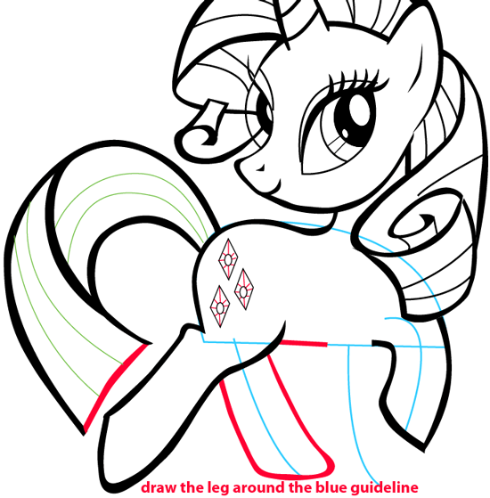 Step 11 : Drawing Rarity from My Little Pony in Easy Steps Lesson