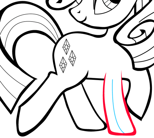 Step 12 : Drawing Rarity from My Little Pony in Easy Steps Lesson