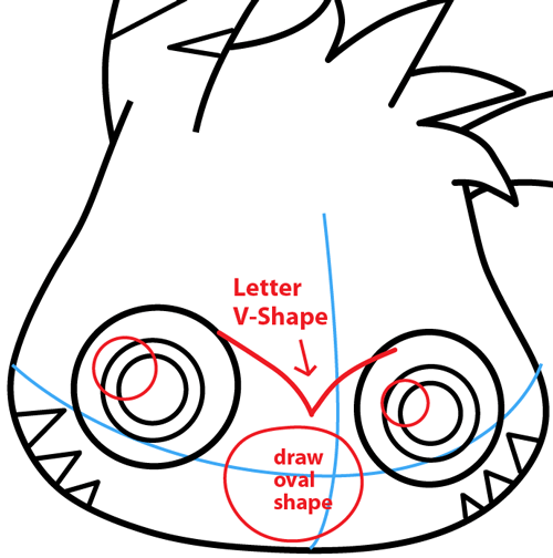 Step 5 : Drawing Katsuma from Moshi Monsters in Easy Steps Lesson