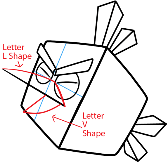 Step 6 : Drawing Ice Bird from Angry Birds in Easy Steps Lesson