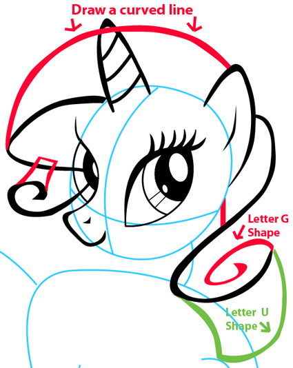 Step 7 : Drawing Rarity from My Little Pony in Easy Steps Lesson
