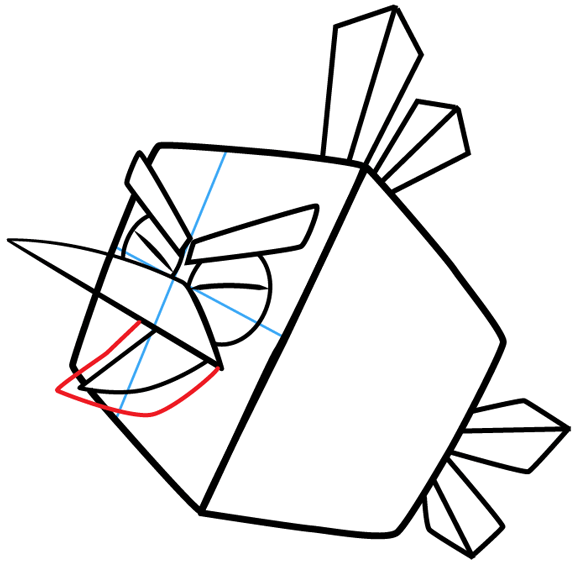 Step 7 : Drawing Ice Bird from Angry Birds in Easy Steps Lesson