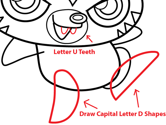 Step 9 : Drawing Katsuma from Moshi Monsters in Easy Steps Lesson