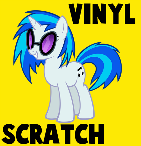 How to draw Vinyl Scratch from My Little Pony with easy step by step drawing tutorial