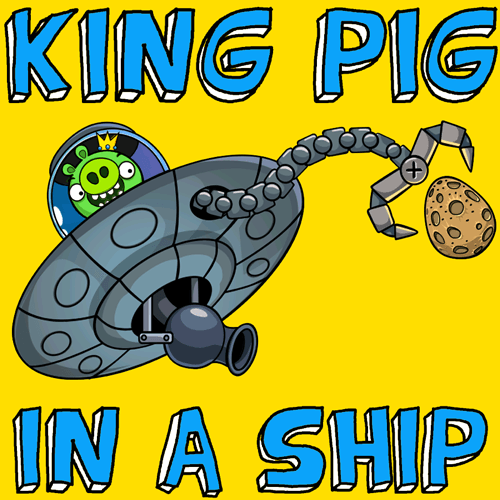 How to draw King Pig in Space Ship from Angry Birds Space with easy step by step drawing tutorial
