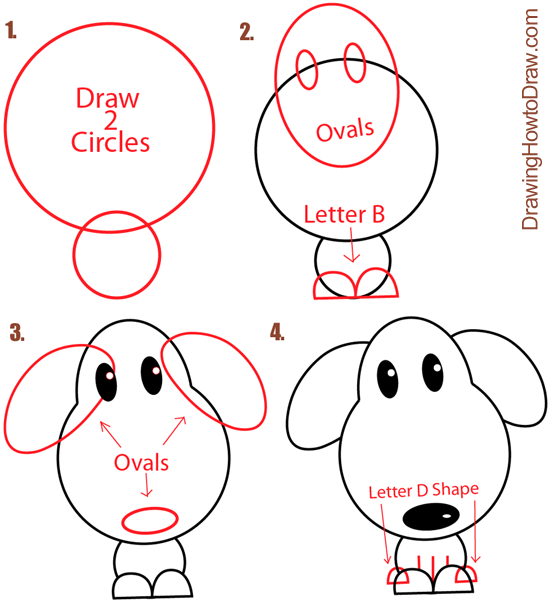 Big Guide To Drawing Cartoon Dogs Puppies With Basic Shapes For