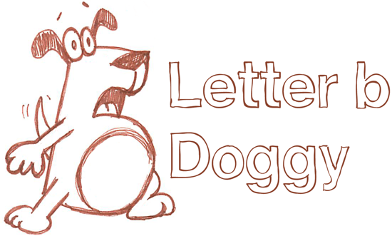 Drawing a cartoon dog with a lowercase letter b