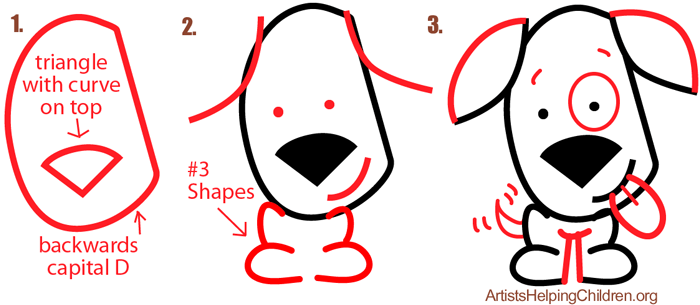 How to Draw a Cartoon Puppy with #3 Ears