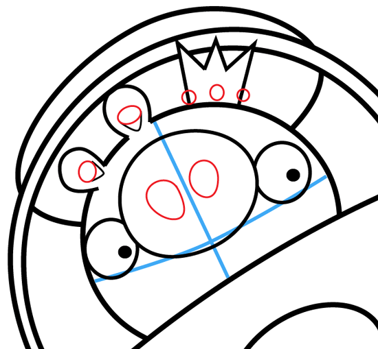 Step 13 : Drawing King Pig in Space Ship from Angry Birds Space in Easy Steps Lesson