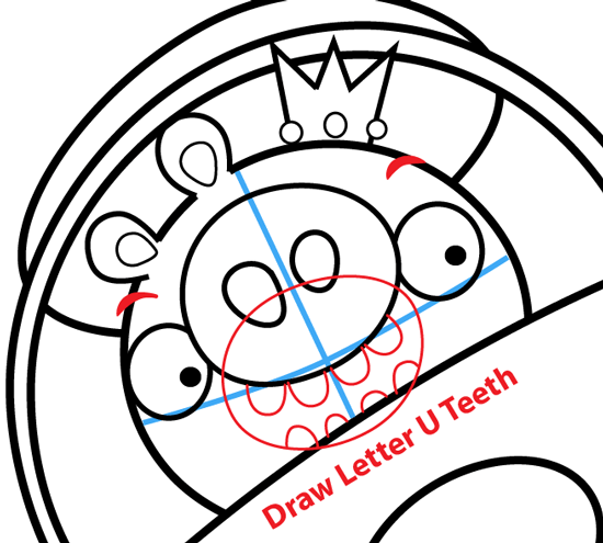 Step 14 : Drawing King Pig in Space Ship from Angry Birds Space in Easy Steps Lesson