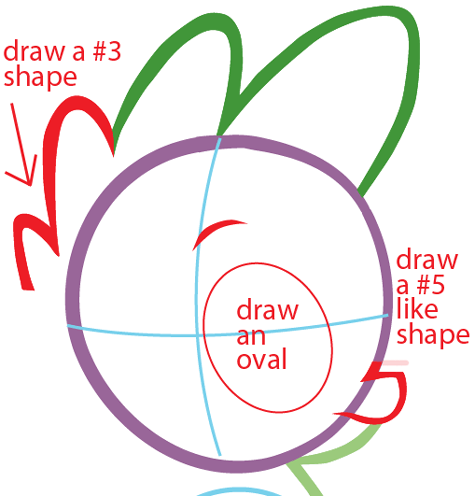 Step 3 : Drawing Spike from My Little Pony in Easy Steps Lesson