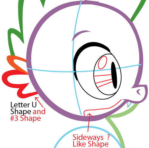 Step 5 : Drawing Spike from My Little Pony in Easy Steps Lesson