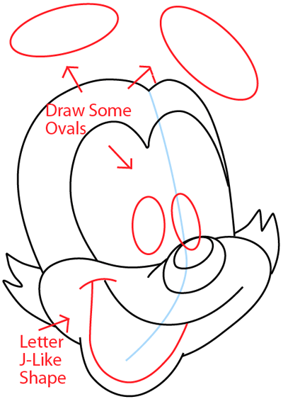 Step 5 : Drawing Yakko Warner from Animaniacs in Easy Steps Lesson