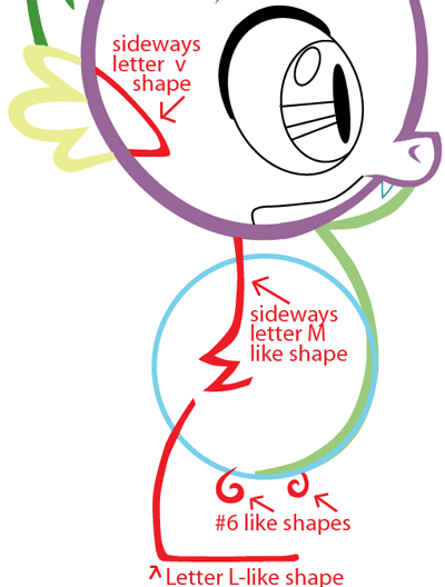 Step 6 : Drawing Spike from My Little Pony in Easy Steps Lesson