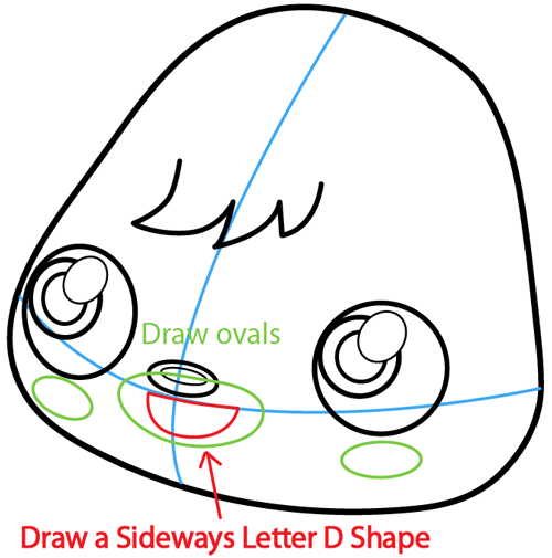 Step 7 : Drawing Poppet from Moshi Monsters in Easy Steps Lesson