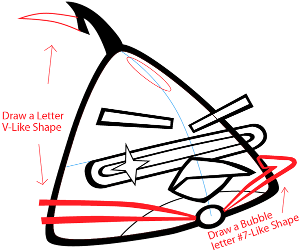 Step 7 : Drawing Lazer Bird from Angry Birds Space in Easy Steps Lesson