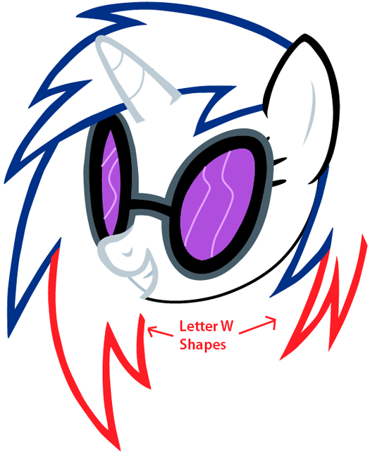 Step 7 : Drawing Vinyl Scratch from My Little Pony in Easy Steps Lesson