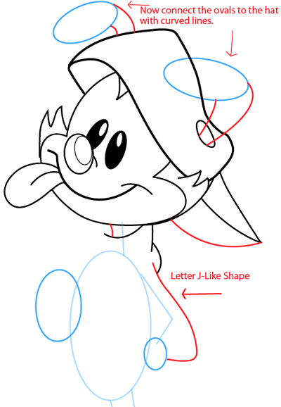 Step 8 : Drawing Wakko Warner from Animaniacs in Easy Steps Lesson