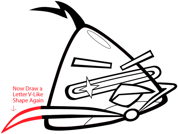 Step 8 : Drawing Lazer Bird from Angry Birds Space in Easy Steps Lesson