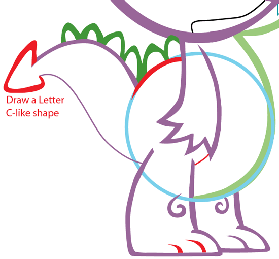 Step 9 : Drawing Spike from My Little Pony in Easy Steps Lesson