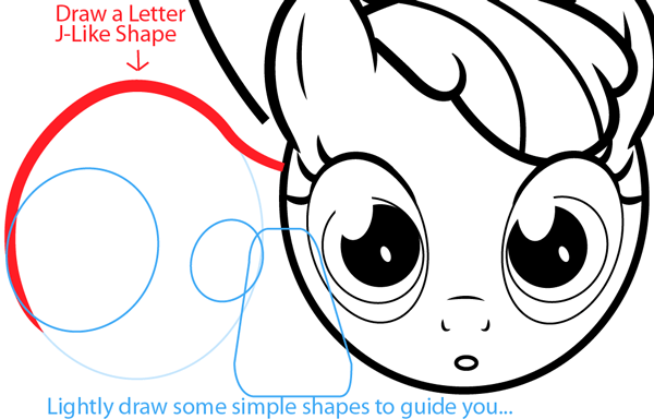 Step 9 : Drawing Apple Bloom from My Little Pony in Easy Steps Lesson