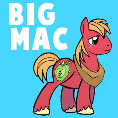 How to draw Big Mac from My Little Pony: Friendship is Magic with easy step by step drawing tutorial