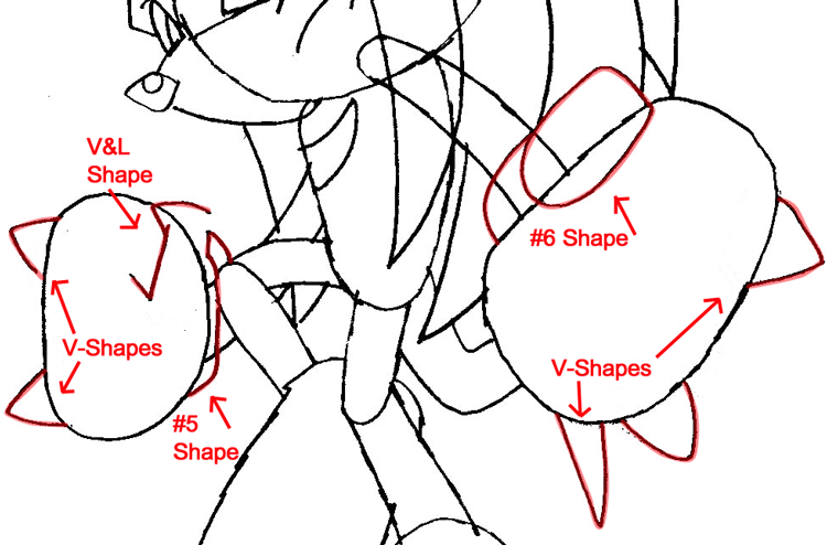 Step 7a : Drawing Knuckles the Echidna from Sonic the Hedgehog in Easy Steps Lesson