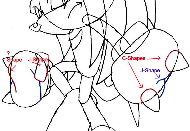 Step 7b : Drawing Knuckles the Echidna from Sonic the Hedgehog in Easy Steps Lesson