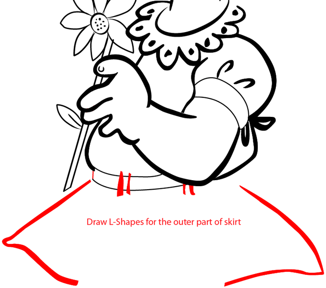 Step 11 : Drawing a Girl with a Flower for Mother's Day or Valentine's Day in Easy Steps Lesson