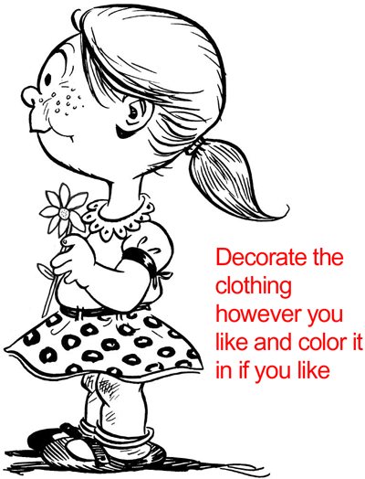 Step 18 : Drawing a Girl with a Flower for Mother's Day or Valentine's Day in Easy Steps Lesson