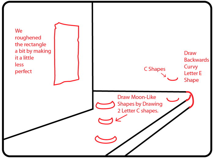 Step 3 : Drawing City Street Sidewalk Scene in Easy Steps Lesson