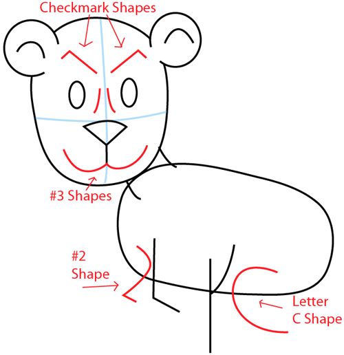 Step 5 : Drawing a Cartoon Lion in Easy Steps Lesson