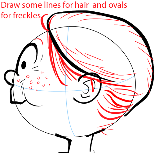 Step 5 : Drawing a Girl with a Flower for Mother's Day or Valentine's Day in Easy Steps Lesson