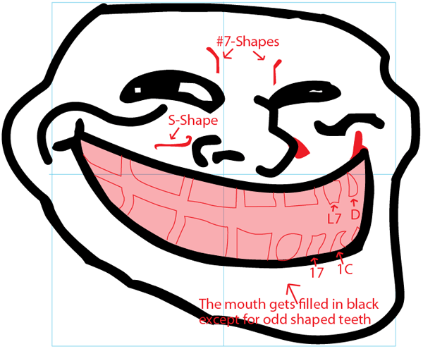 Step 6 : Drawing Trollface in Easy Steps Lesson