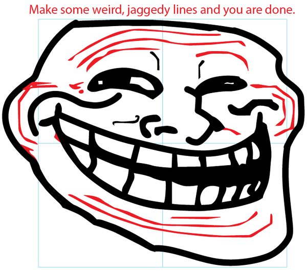 Step 7 : Drawing Trollface in Easy Steps Lesson