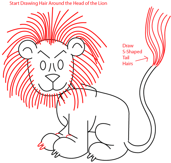 Step 8 : Drawing a Cartoon Lion in Easy Steps Lesson