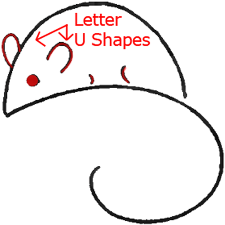 Mouse D - Step 3 : Drawing Cartoon Mice in Easy Steps Lesson