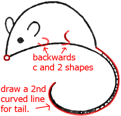 Mouse D - Step 4 : Drawing Cartoon Mice in Easy Steps Lesson