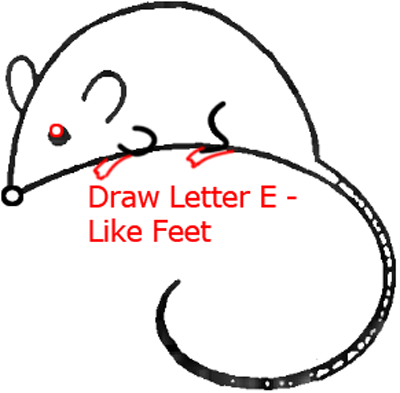Mouse D - Step 5 : Drawing Cartoon Mice in Easy Steps Lesson